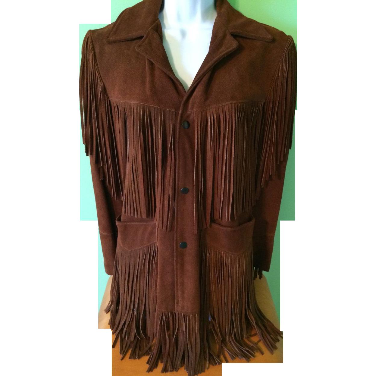 vintage joo kay leather suede fring jacket western hippie boho sold on ruby lane. Black Bedroom Furniture Sets. Home Design Ideas