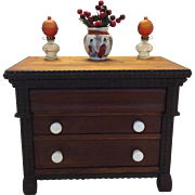 Signed three drawer Empire chest with ripple moldings