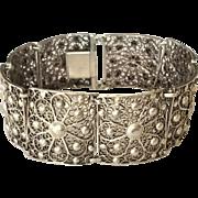 800 Silver filigree panel bracelet