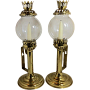 Pair Sherwoods Ltd. brass-plated push up candlesticks / sconces