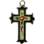 Doll size sterling silver and enamel cross