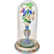 RESERVED for E: Doll size glass dome with handblown vase and fabric flowers