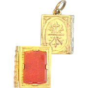 Book shaped swivel locket with agate and carnelian panels