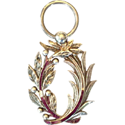 French sterling silver laurel wreath pendant