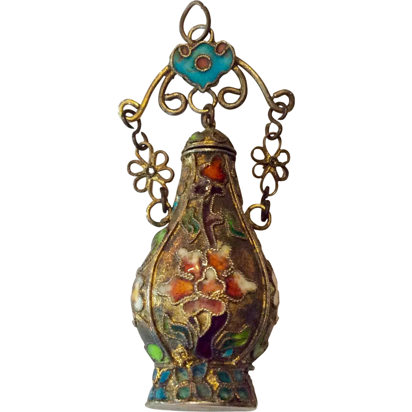chinese art deco bottle pendant with cloisonn details from caldwells on ruby lane. Black Bedroom Furniture Sets. Home Design Ideas