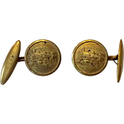 Brass cufflinks with embossed steam engines or locomotives