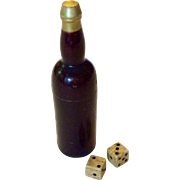 Screw top wooden container in shape of wine bottle