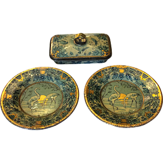 Lithographed tin covered dish and doll plates