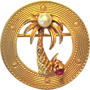 14K gold palm tree pin with cultured pearl and ruby