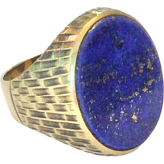 Art Deco lapis lazuli and 8ct gold ring