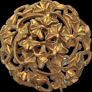 14K gold clover pin