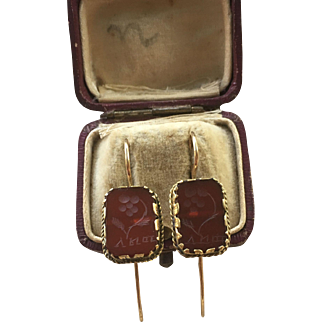 Antique 14K gold earrings with double-sided carnelian intaglios