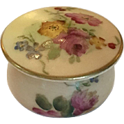 Antique Royal Worcester lidded trinket pot with hand-painted roses
