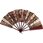 Antique scrapbook fan in red