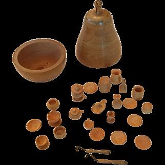 Miniature wooden tea set in treen box shaped like pear