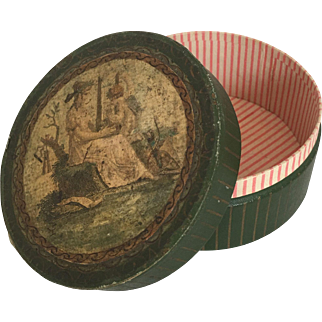 Circular box with hand colored classical image for French Fashion