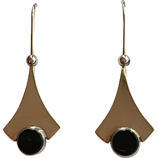 Ed Levin 14K over sterling and onyx earrings