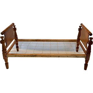 Doll size antique maple rope bed