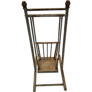 Doll size vintage painted wood chair swing