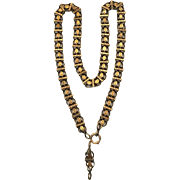 Antique Victorian book chain necklace with extension chain