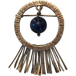 Vintage sterling brooch with lapis bead and fringe