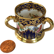 Miniature porcelain loving cup or tyg by Crown Staffordshire