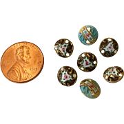 Miniature hand painted enamel doll buttons - set of 7