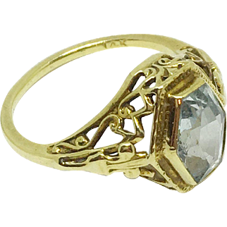Vintage 14K gold ring with glass aquamarine