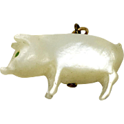 Antique mother-of-pearl lucky pig charm