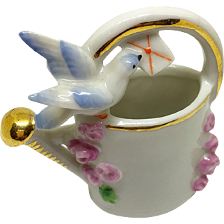 Vintage porcelain watering can vase with bird, letter, flowers