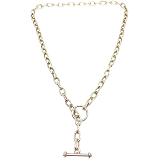 Vintage sterling Italian chain necklace with toggle clasp