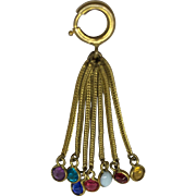 Antique tassel charm with multicolor paste stones