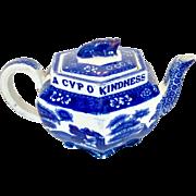 "Antique Copeland Spode flow blue ""Tower"" teapot - Red Tag Sale Item"