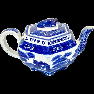 "Antique Copeland Spode flow blue ""Tower"" teapot"