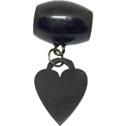 Whitby jet heart and barrel charms