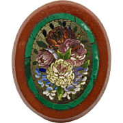 Antique micromosaic plaque with flowers