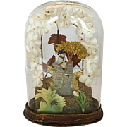 Antique wax valentine garden scene under glass dome