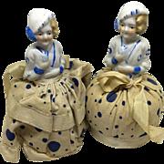 Vintage pair of flapper pincushion half dolls