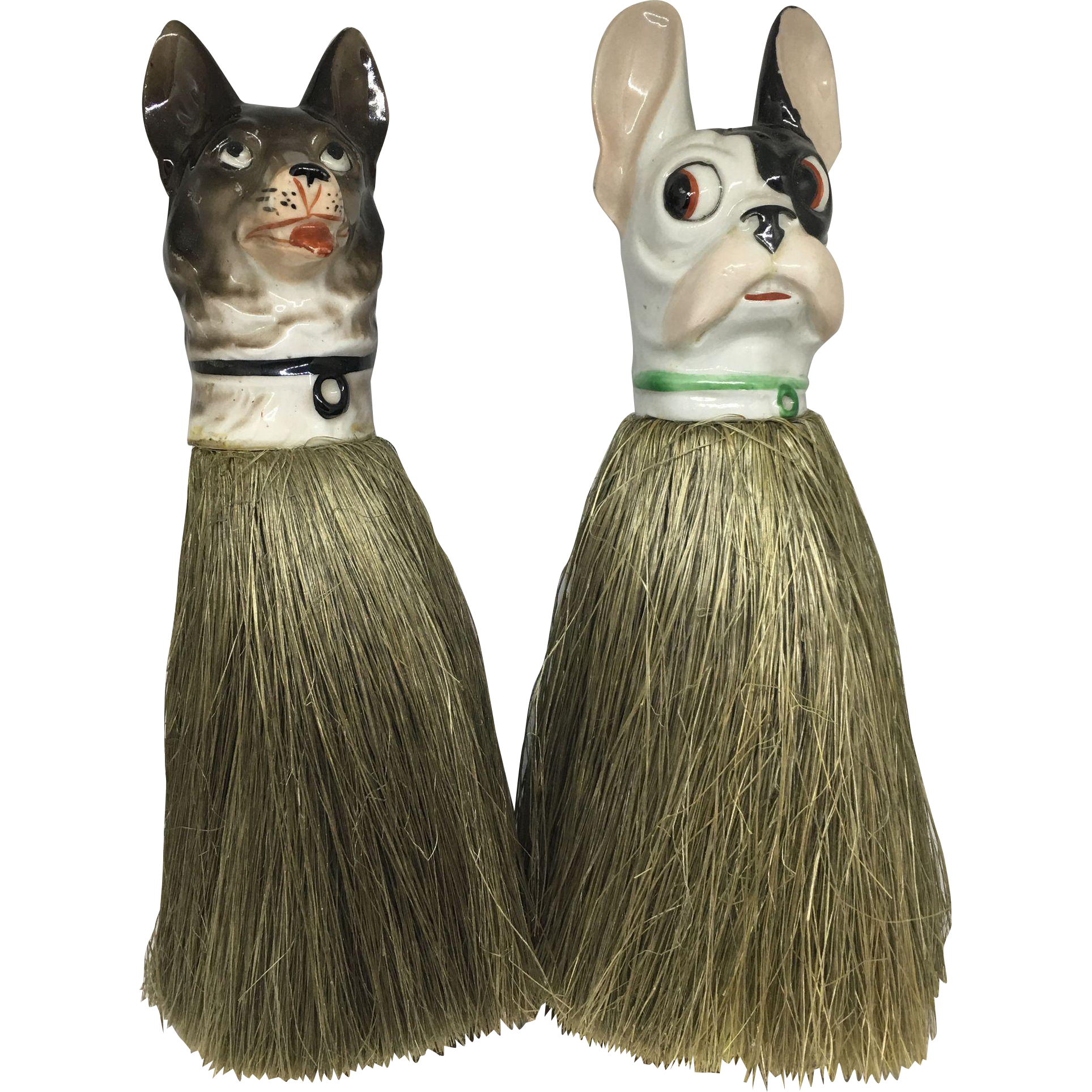 Pair of clothes brushes - German Shepherd and Boston Terrier / French Bulldog