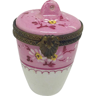Hand painted French porcelain trinket box with hinged lid