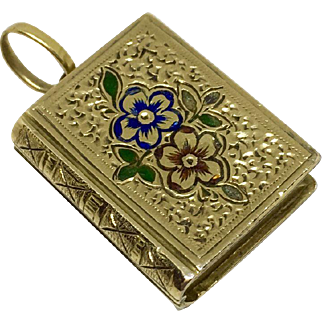 Book shaped locket with engraved and enameled flowers