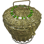 Lidded wire basket with handle and bead detail