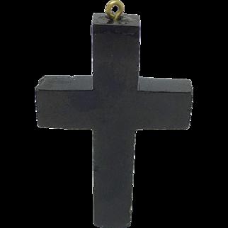 Jet cross mourning pendant