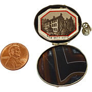 Victorian agate specimen locket with miniature souvenir book of Matlock