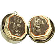 Victorian agate specimen locket with miniature souvenir book of Ilfracombe