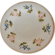 Milk glass pedestal dish with hand painted floral decoration