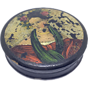Papier mache snuff box with woman and flowers