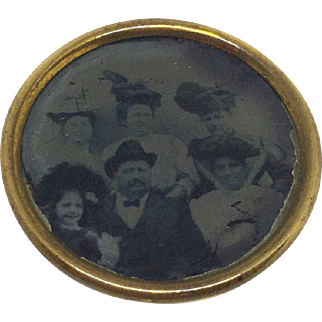 Pin with group photo tintype