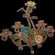 Italian toleware metal roses candleholder