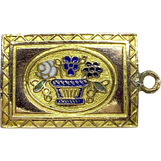 Georgian double-sided charm with enamel flowers and baskets